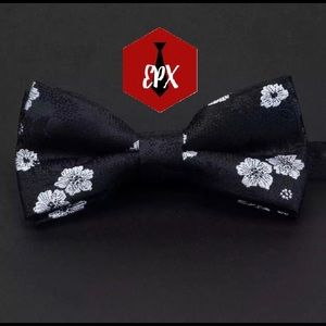 Mens black and white flowers bow tie wedding tie